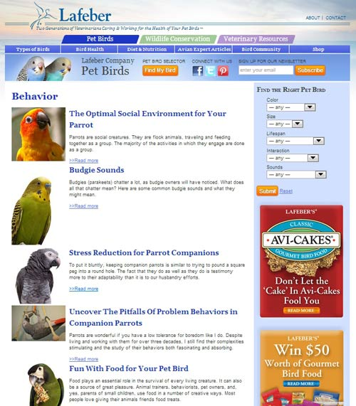 Pet bird category page