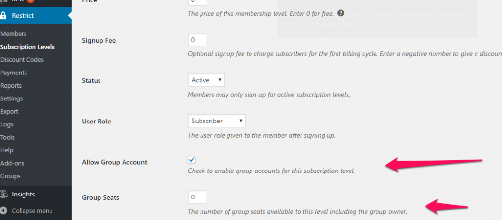 RCP- Subscription level with Group